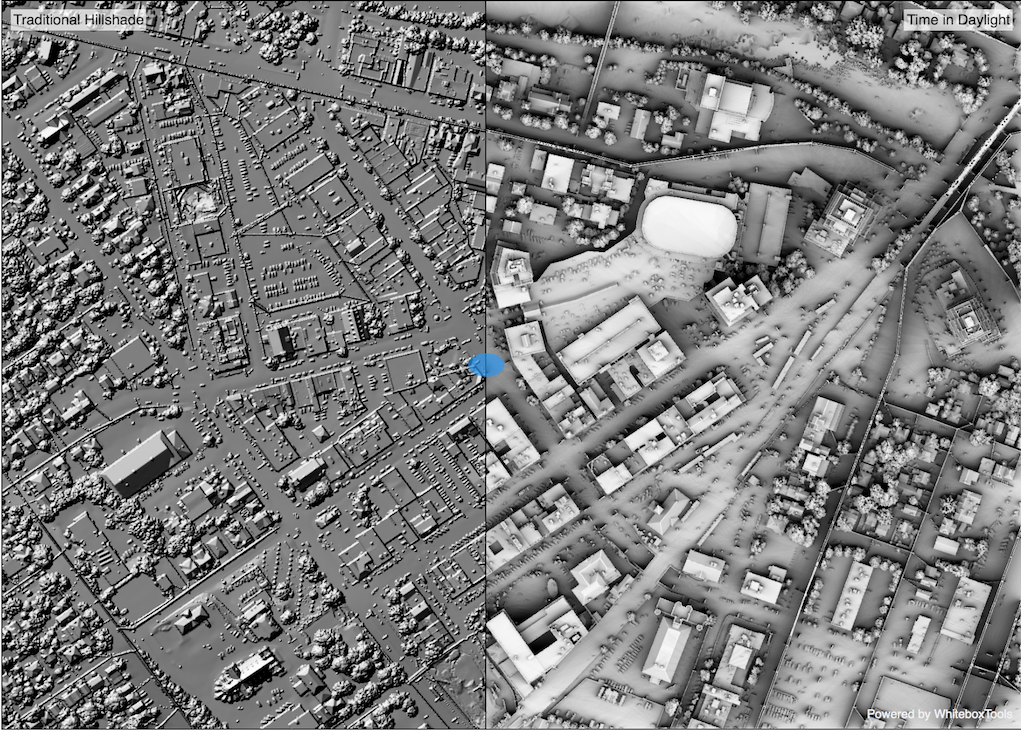 Hillshade and Time in Daylight Geospatial Software