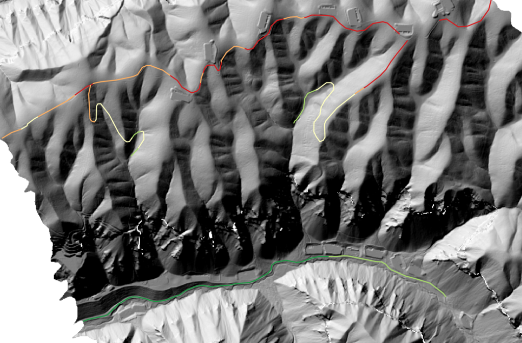 The AssessRoutes maximum elevation output for trail network difficulty. Green values show less elevated segments, while red shows higher elevated segments.