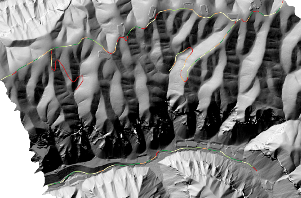 The AssessRoutes sinuosity output for trail network difficulty. Green values show less sinuous segments, while red shows higher sinuous segments.