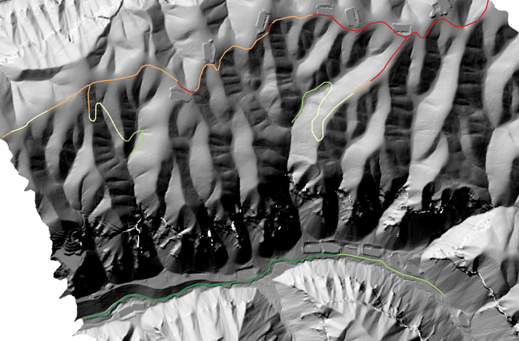 The AssessRoutes minimum elevation output for trail network difficulty. Green values show less elevated segments, while red shows higher elevated segments.